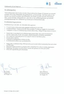 Signert kvalitetspolicy Jan Saugen AS